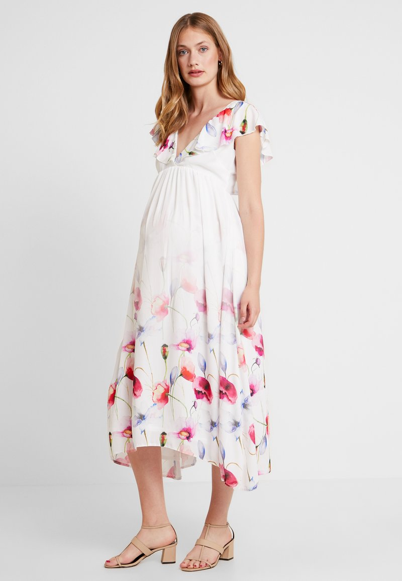 True Violet Maternity - TRUE HI LOW MIDAXI DRESS WITH FRILLS - Maxiklänning - ombre cream