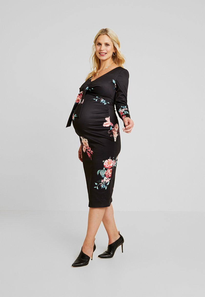 True Violet Maternity - PLUNGE FRONT TIE BODYCON - Etui-jurk - red floral