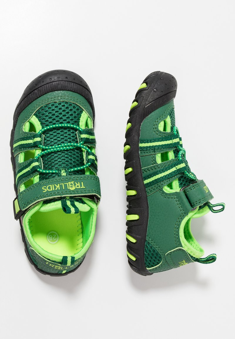 TrollKids - KIDS SANDEFJORD - Walking sandals - dark green/light green