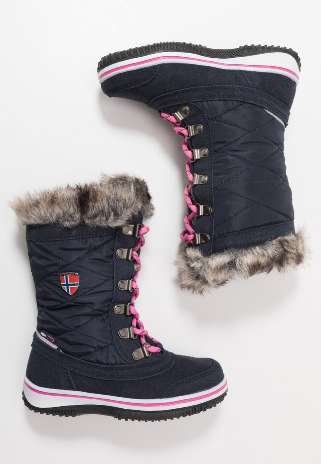 GIRLS HOLMENKOLLEN - Winter boots - navy/magenta