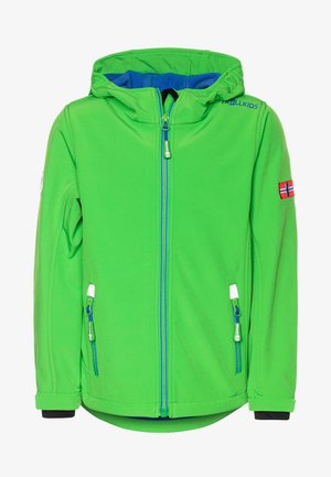 KIDS TROLLFJORD - Softshellová bunda - bright green/med blue