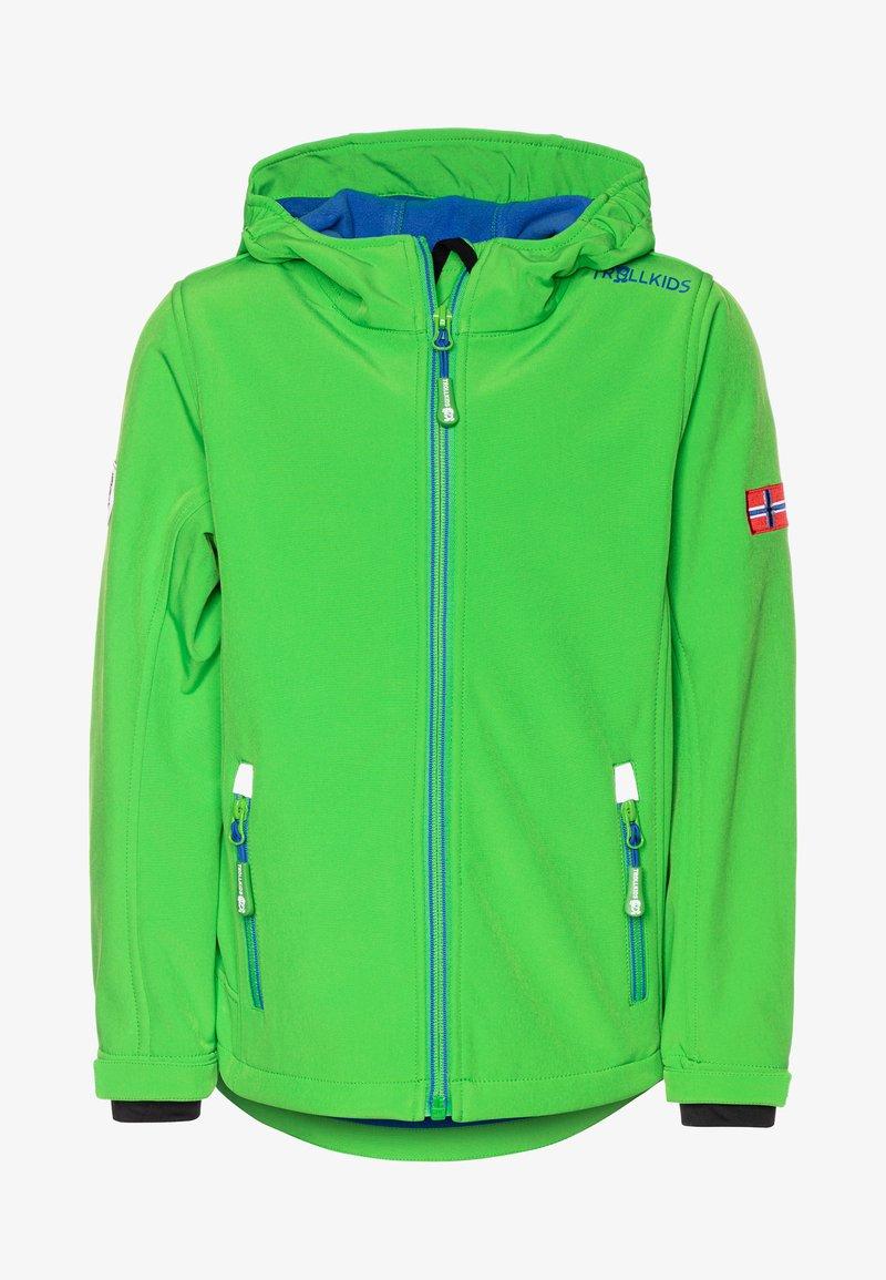 TrollKids - KIDS TROLLFJORD - Softshellová bunda - bright green/med blue