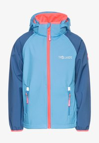 TrollKids - KIDS RONDANE ZIP OFF 2-IN-1 - Softshellová bunda - midnight blue/cerulean/coral - 0