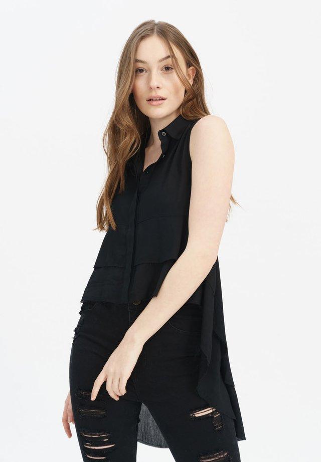 LT3 MIT STYLISCHEN RÜSCHEN - Button-down blouse - black