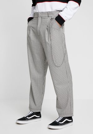 TWEED TROUSERS WITH CHAIN - Trousers - tan/grey