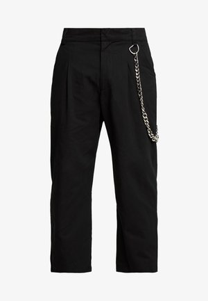 PLEATED TROUSERS WITH KEY CHAIN - Pantaloni - black