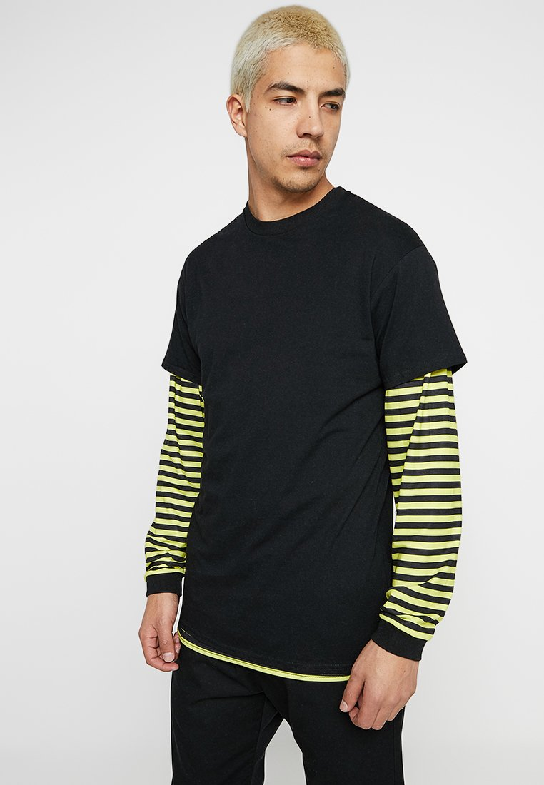 The Ragged Priest - STRIPE LAYERED TEE - Long sleeved top - yellow/black