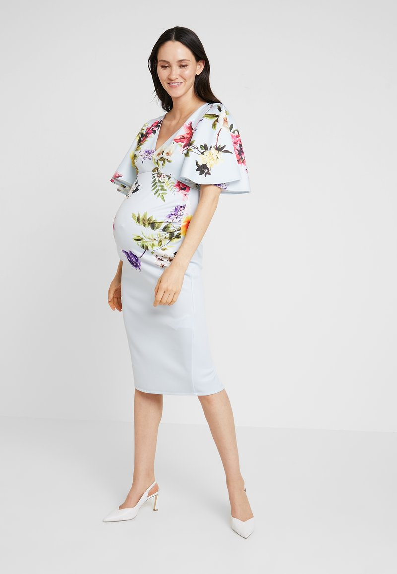True Violet Maternity - BATWING MIDI BODYCON - Shift dress - blue border floral