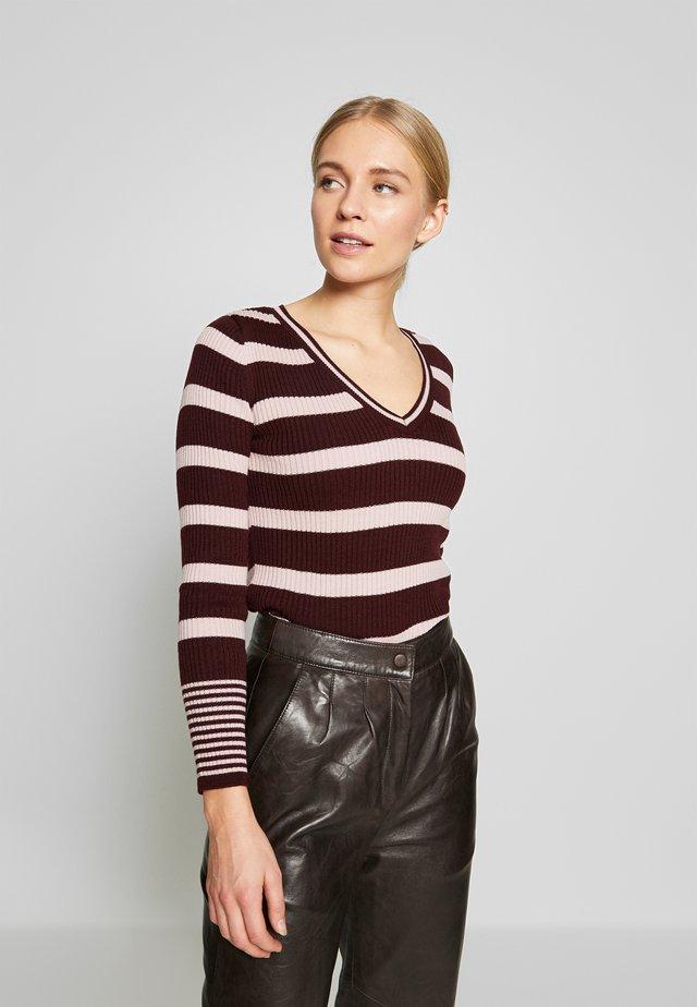 SIYHA - Stickad tröja - burgundy