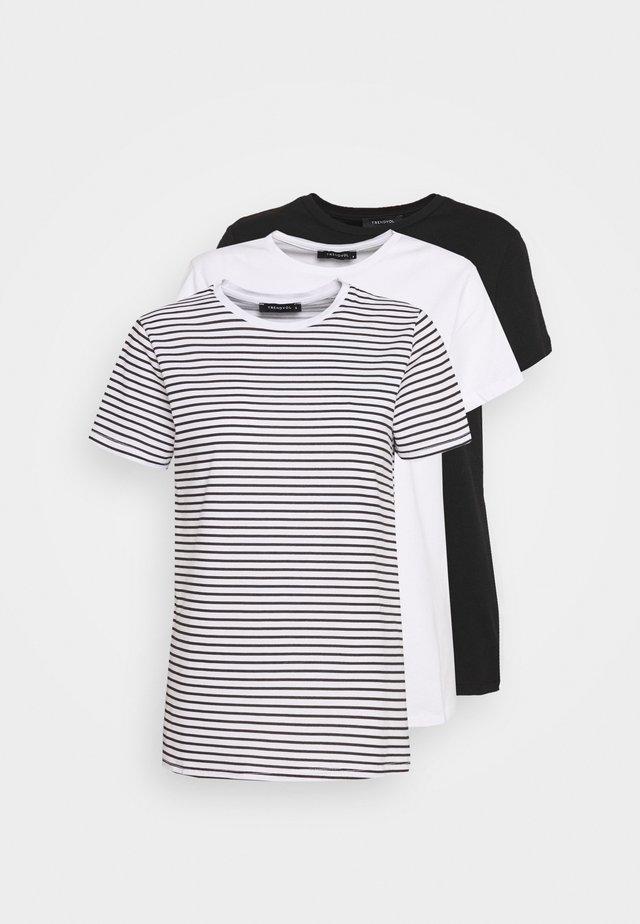 3 PACK - Print T-shirt - white/black