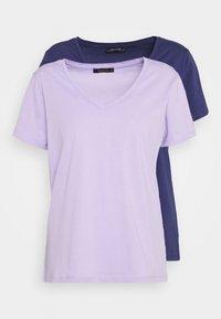 Trendyol - 2 PACK - T-shirt basic - lilac/dark blue - 0