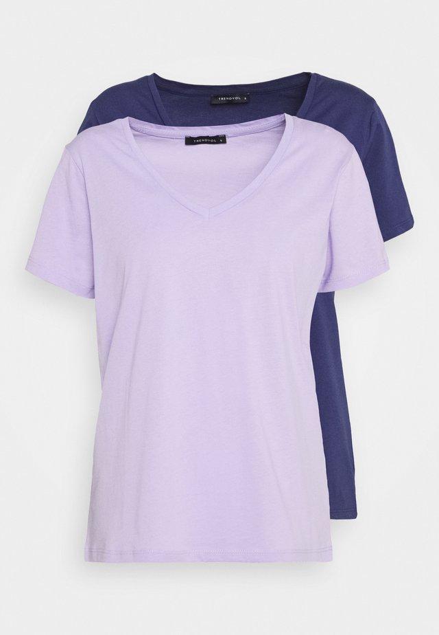 2 PACK - T-paita - lilac/dark blue