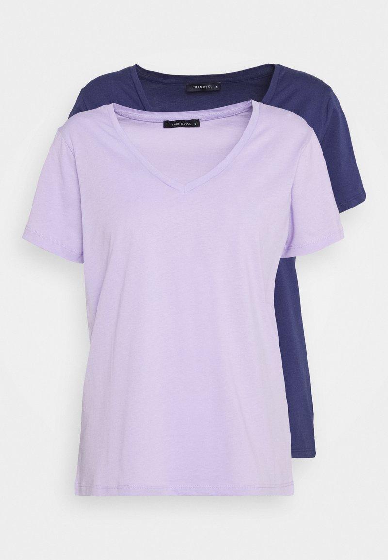 Trendyol - 2 PACK - T-shirt basic - lilac/dark blue