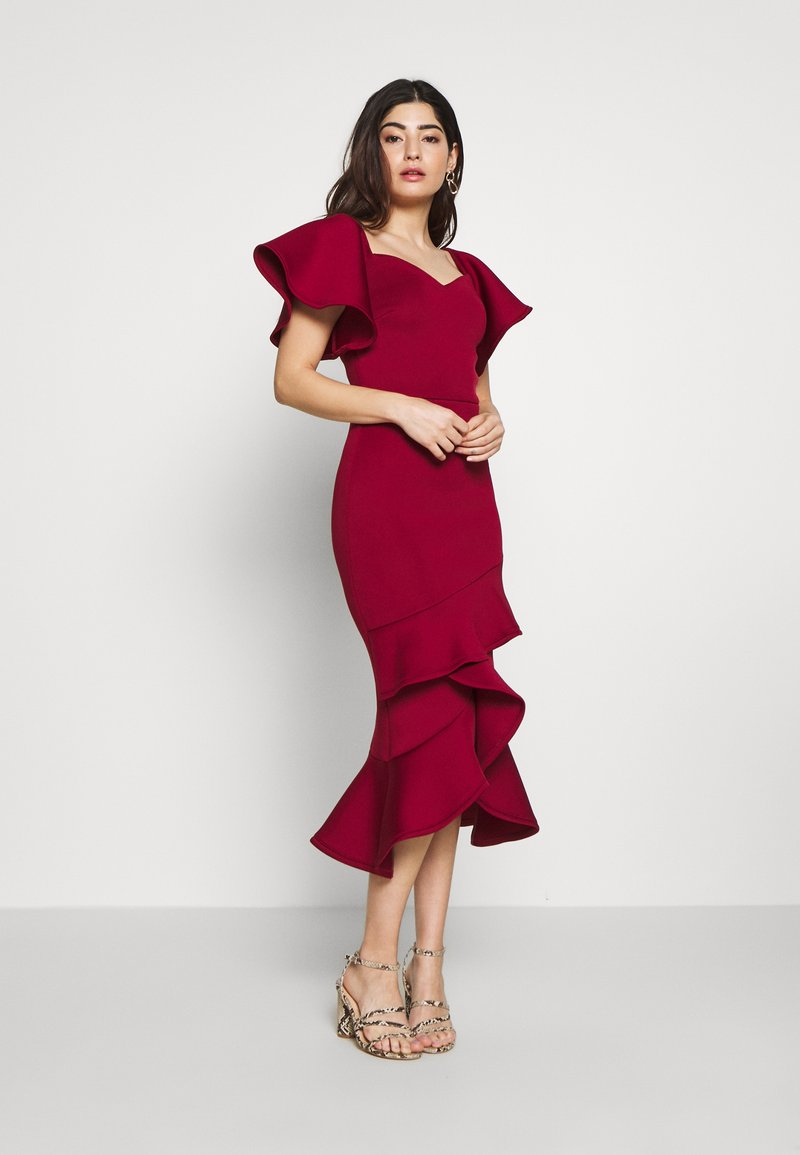 True Violet Petite - BARDOT MIDI DRESS - Cocktailkjole - burgundy
