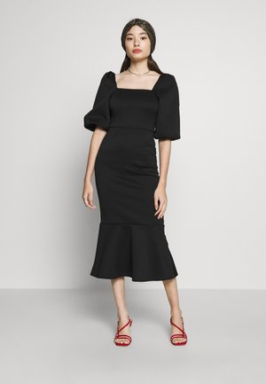 SQUARE NECK PUFF SLEEVE MIDII DRESS WITH PEPHEM - Cocktailjurk - solid black