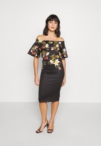 True Violet Petite - BARDOT PRINTED MIDI DRESS - Shift dress - black - 0