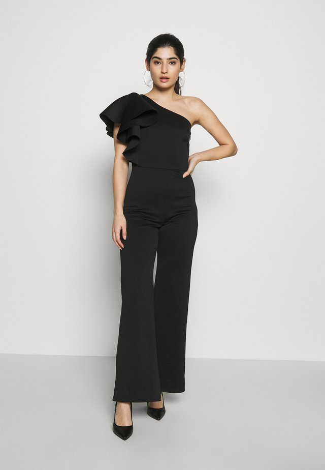 ONE SHOULDER FRILL - Jumpsuit - black