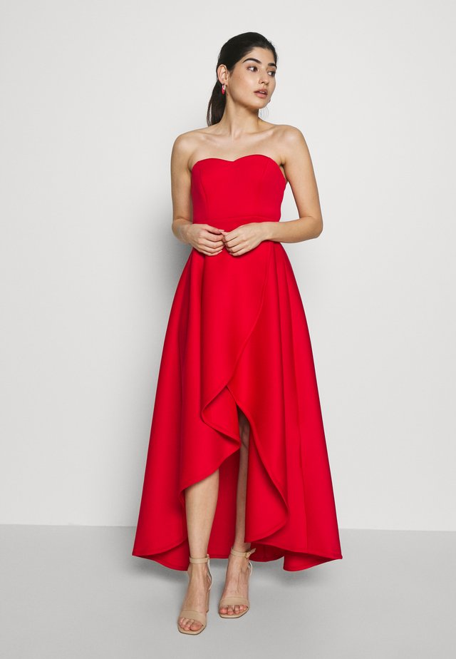 TRUE VIOLET BARDOT WRAP HIGH LOW DRESS - Cocktailjurk - red