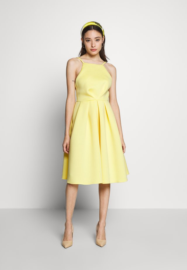 GATHERED WAIST SKATER MIDI DRESS - Cocktail dress / Party dress - lemon yellow