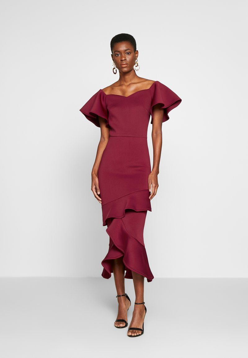 True Violet Tall - BARDOT MIDI DRESS - Cocktailjurk - dark red