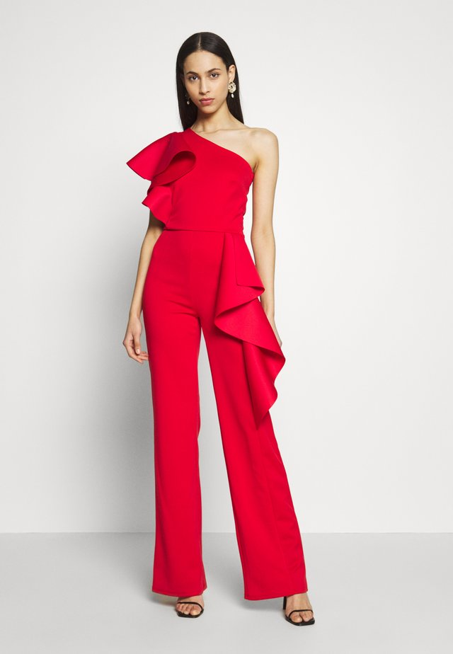 ONE SHOULDER FRILL - Overall / Jumpsuit - red