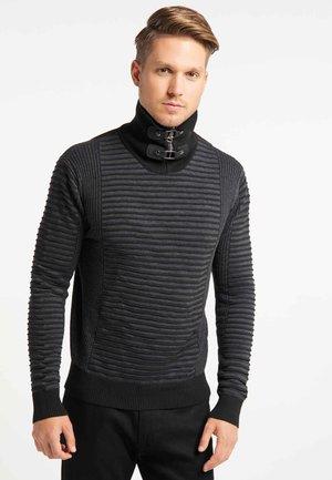 Stickad tröja - black/dark grey