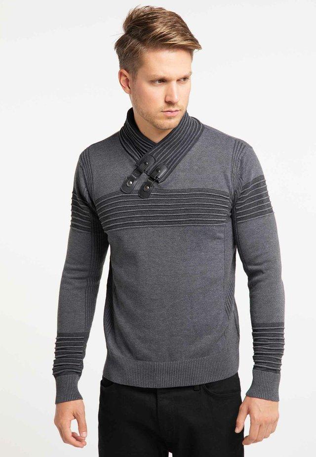 Stickad tröja - dark gray anthracite