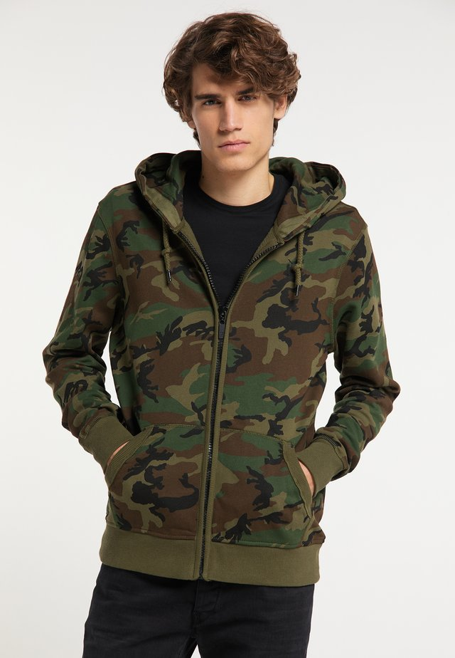 Huvtröja med dragkedja - camouflage