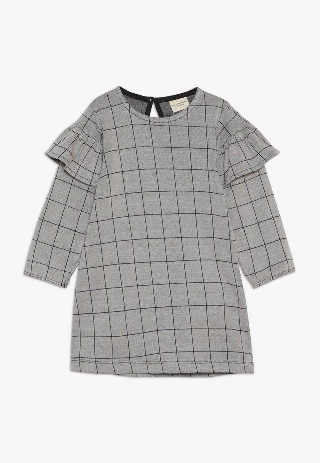 CHECK FRILL SLEEVE - Jerseyklänning - grey/black