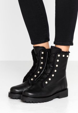 Bottines à lacets - nero/bianca