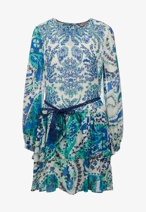 ABITO STAMPA SOTTOVESTE CINTURA - Day dress - cachemire zaffiro/blu