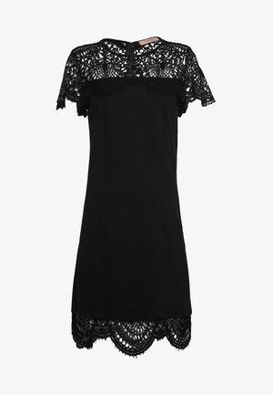 ABITO TUBINO IN PUNTO MILANO CON PIZZO - Jersey dress - nero