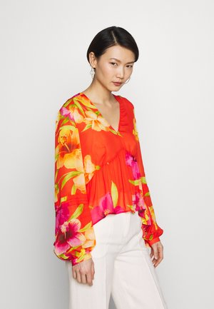 Blouse - hibiscus flame