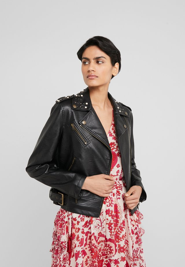 JACKET WITH STUDS DETAIL - Faux leather jacket - nero