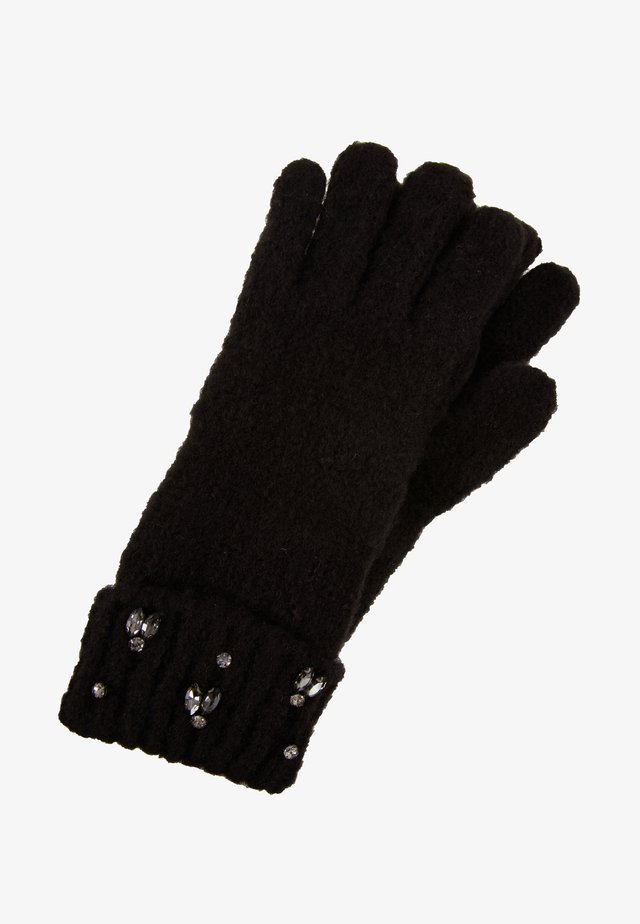 RHINESTONES EMBROIDERY GLOVES - Sormikkaat - nero