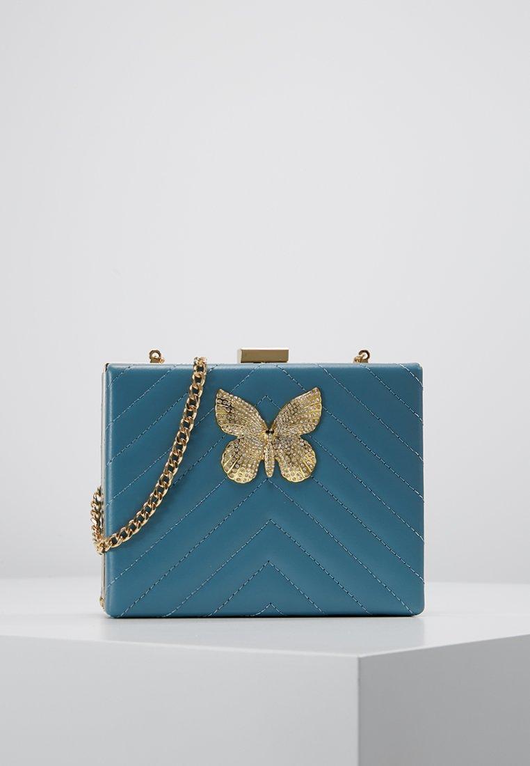 TWINSET - CLUTCH RIGIDA TRAPUNTATA CHIUSURA FARFALL - Pochette - mykonos blue chiaro