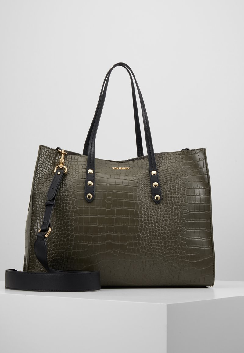 TWINSET - CROCO UNLINED - Shopping Bag - military