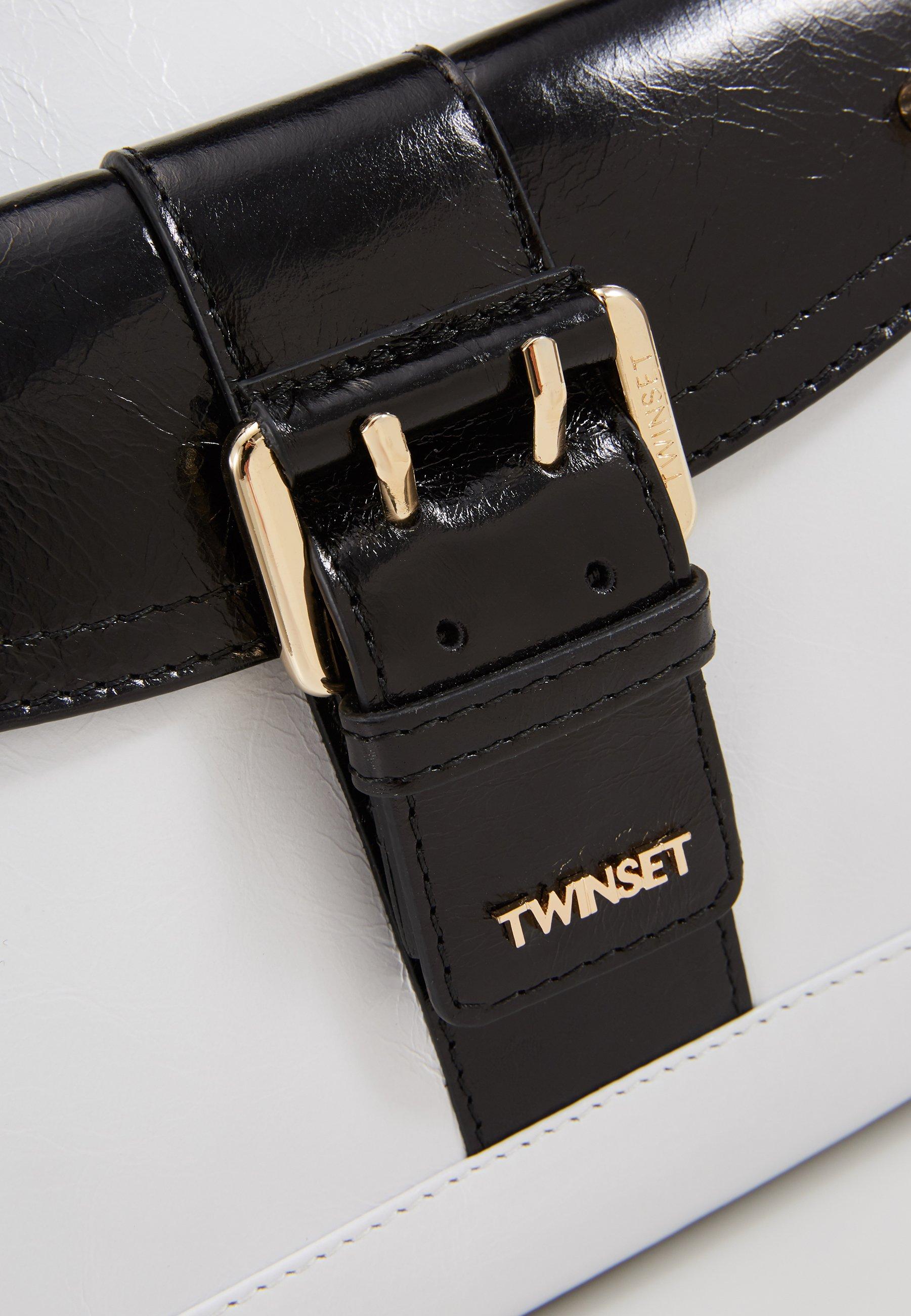 TWINSET TOTE PICCOLA IN PELLE CON FIBBIA BORCHIE - Handväska - nero/neve