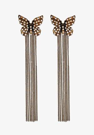ORECCHINI FARFALLA E PENDENTI CATENA - Earrings - ottone invecchiato ramato