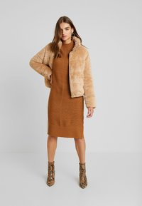 TWINTIP - Gebreide jurk - light brown - 2