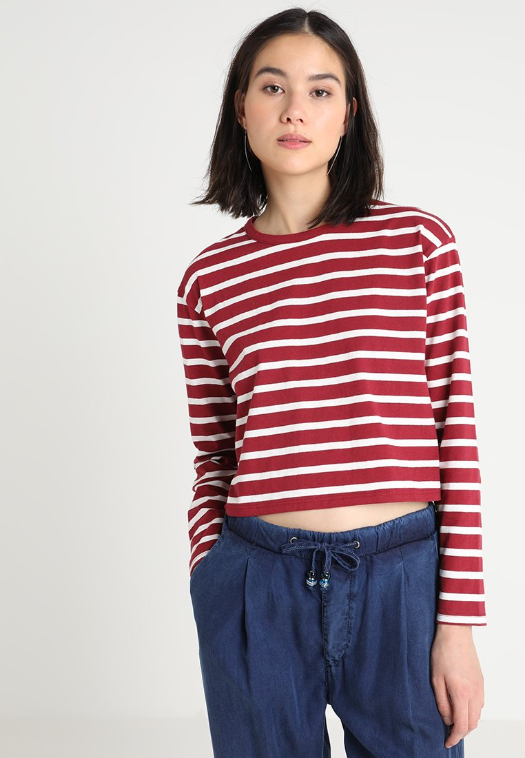 TWINTIP - T-shirt à manches longues - dark red/white