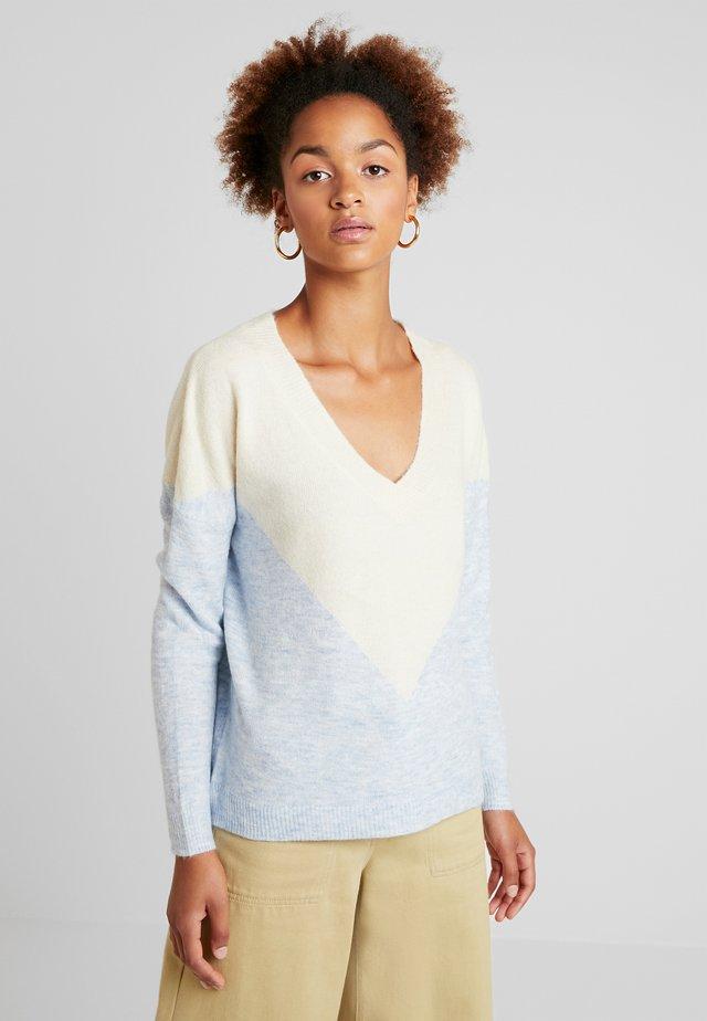 Stickad tröja - blue/beige