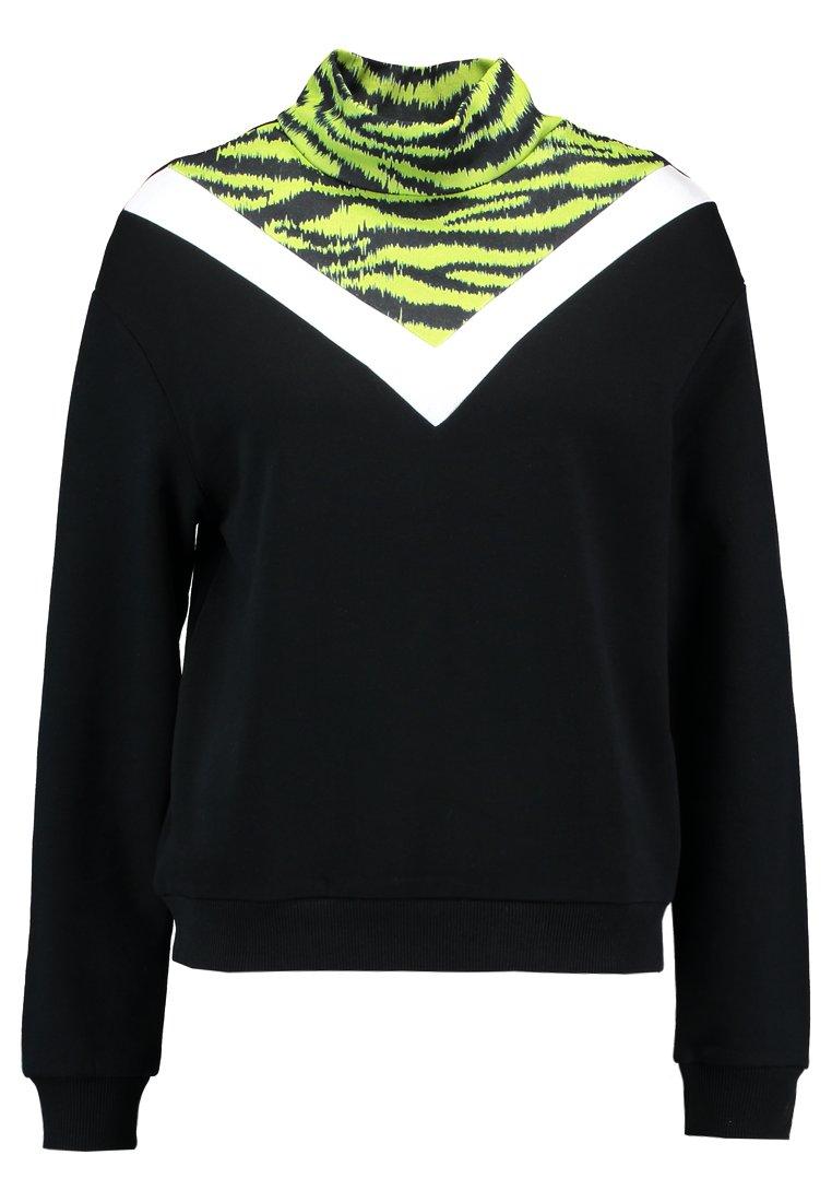 TWINTIP - TIGER DETAIL - Sweatshirt - black/neon green