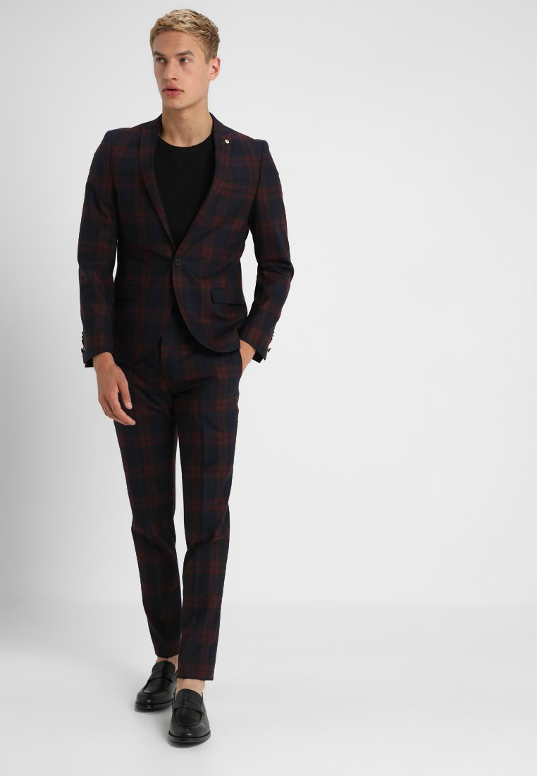 Twisted Tailor - GINGER TARTAN SUIT - Completo - wine