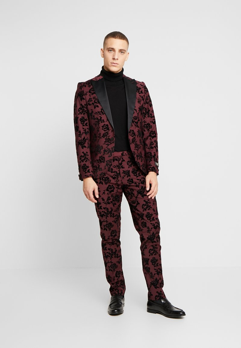 Twisted Tailor - KADI FLORAL FLOCK SUIT - Suit - burgundy