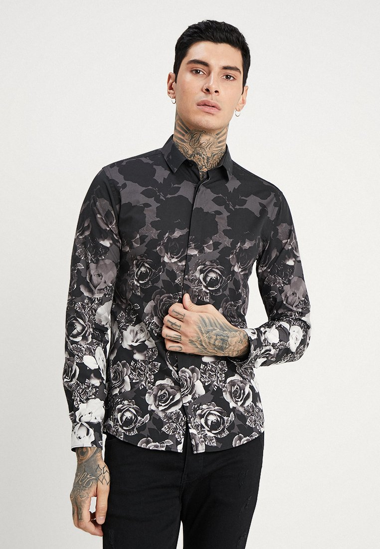 Twisted Tailor - ONO FLORAL SLIM FIT - Skjorta - black