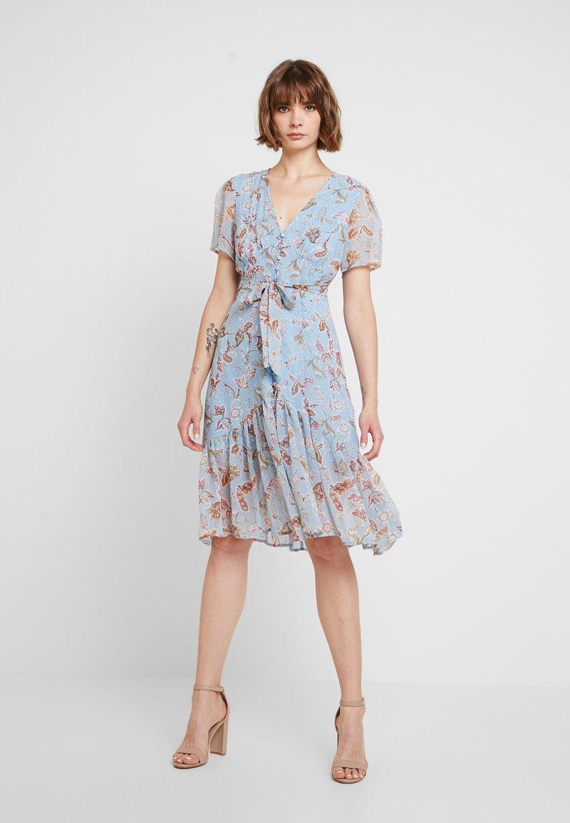 U Collection - FLORAL MIDI DRESS - Shirt dress - blue