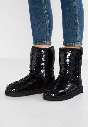 CLASSIC SHORT SEQUIN - Classic ankle boots - black