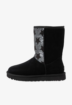 CLASSIC SHORT SEQUIN STARS - Vinterstøvler - black