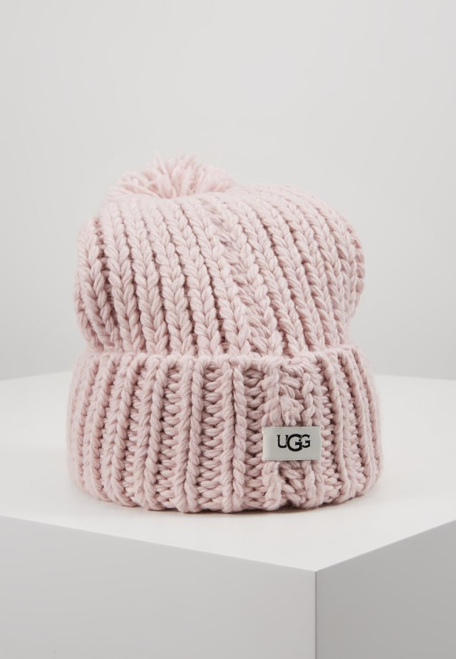 CHUNKY WIDE CUFF BEANIE - Muts - pink crystal